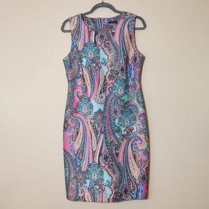 Beautiful, colorful fun scuba sheath dress